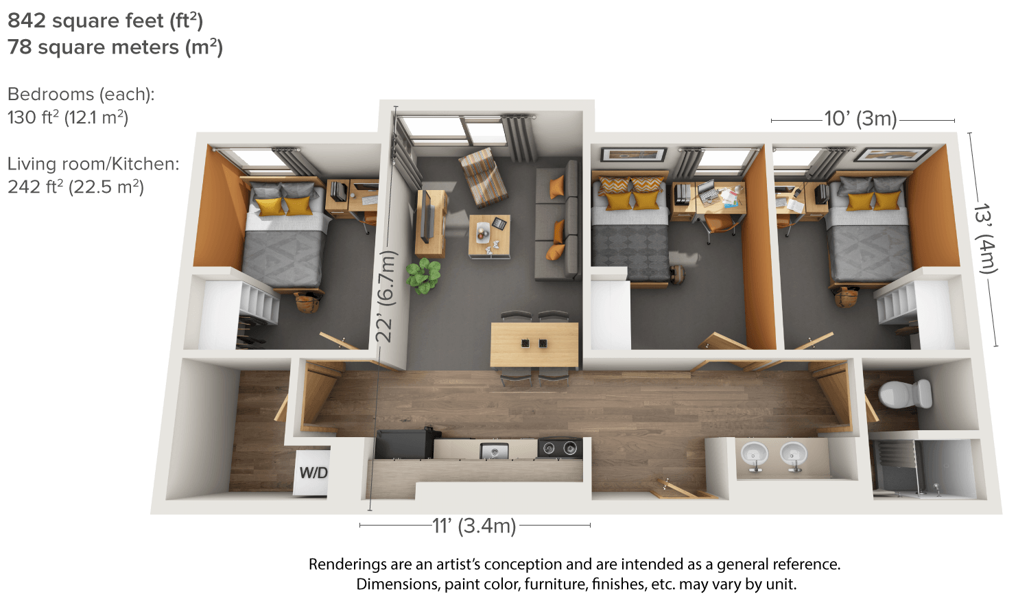 3 bedrooms apartments home design ideas for 3 bedroom apartment layout ideas