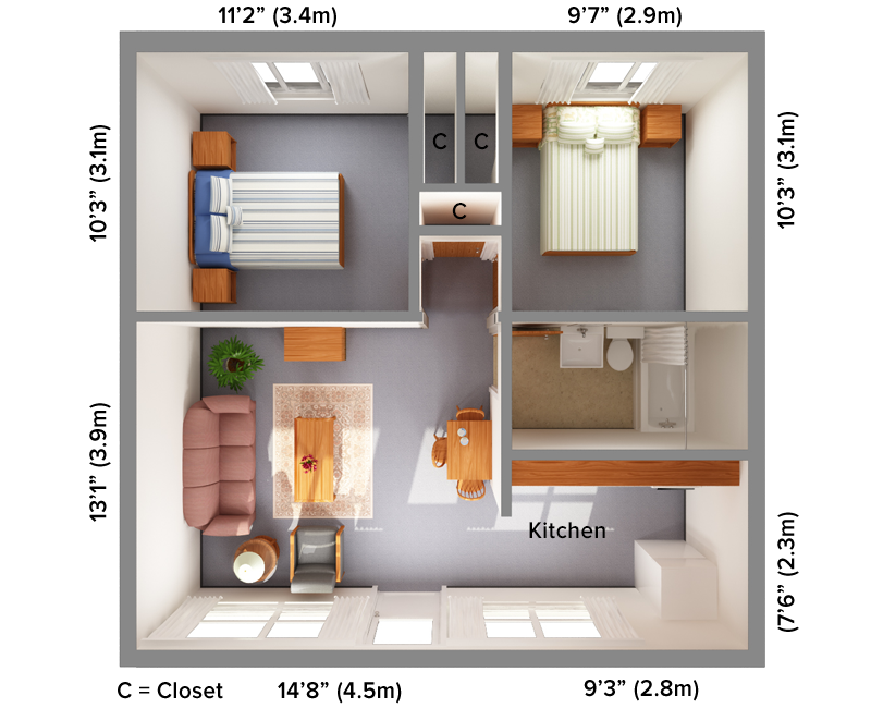 Aggie Family 2B 3D floor plan