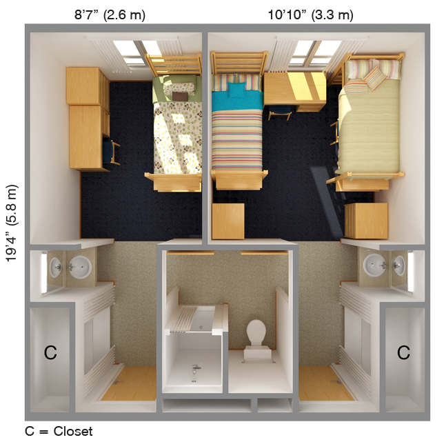 Suite-Style Single and Double room type - Aerial View