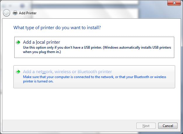 manual installation add network printer screenshot