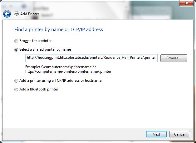 manual installation shared printer name screenshot