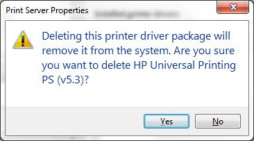 Print server properties confirm box screenshot
