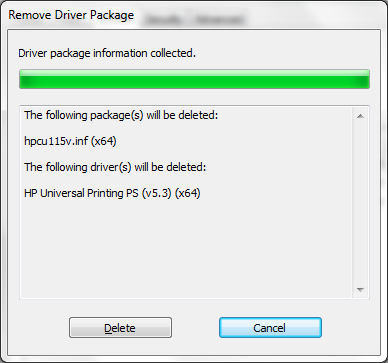Remove driver package screenshot