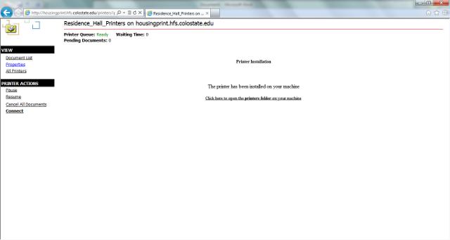 Web installation printer installed screenshot