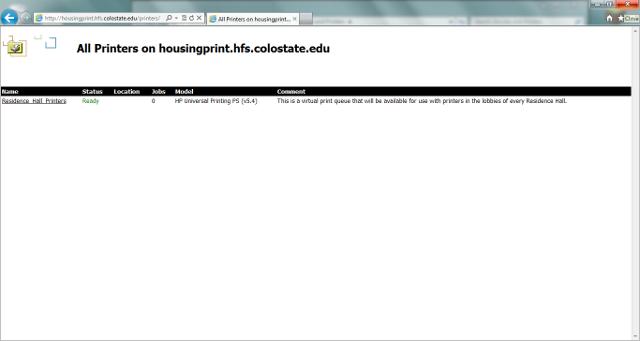 Web Installation select printer screenshot