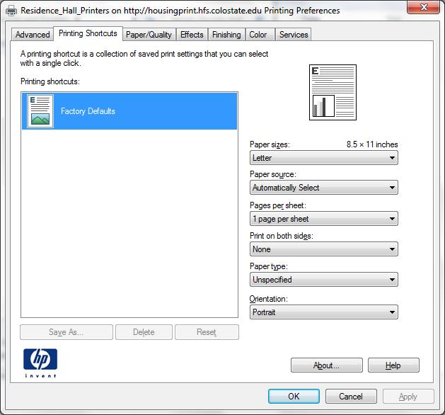 Printing preferences color tab screenshot