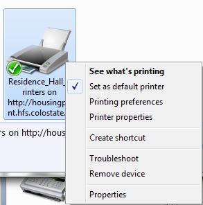 Printer preferences screenshot