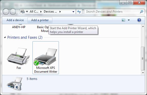 manual installation add printer screenshot
