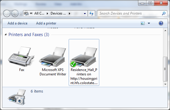Web Installation Devices & Printers screenshot