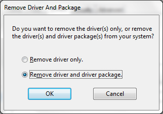 remove driver and package popup screenshot