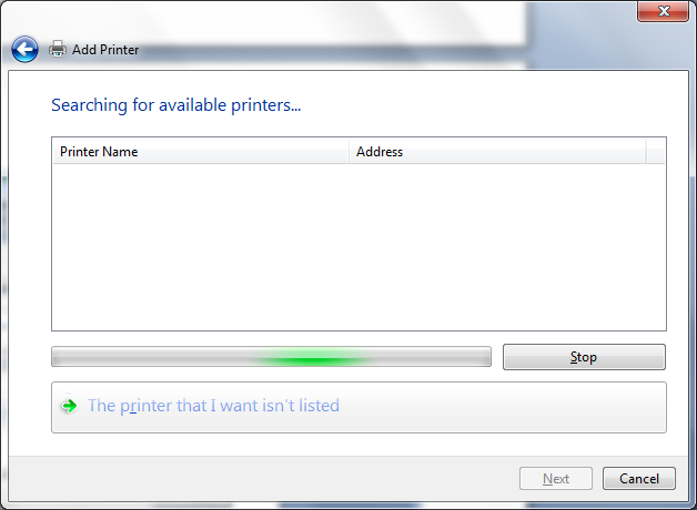 manual installation printer not listed screenshot