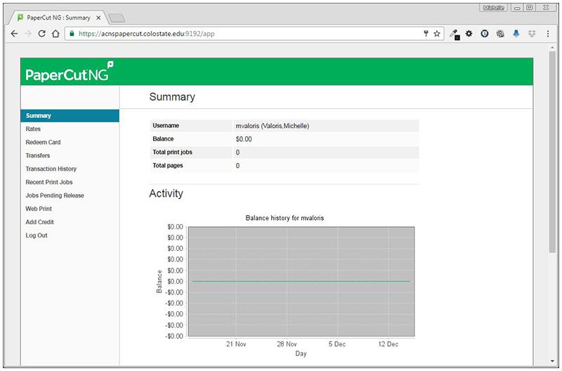 Papercut summary page screenshot