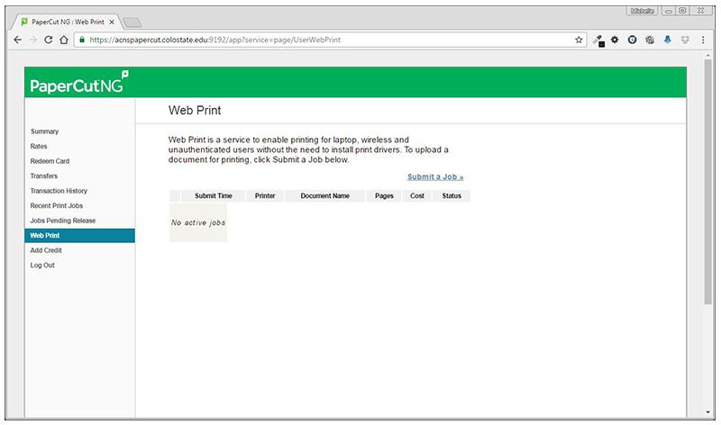 Papercut web print screenshot