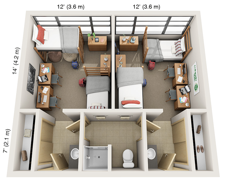 Suite-Style Double: Summit, Parmelee/Braiden 4th floor