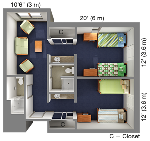 Suite-Style Double in Quad: Academic Village