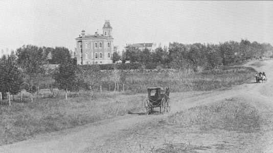 Old Main and South College Ave., c. 1881