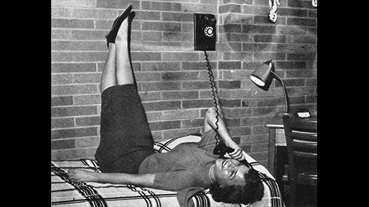 Allison Hall resident on the telephone, c. 1958