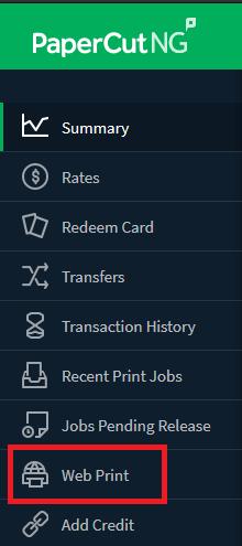 PaperCut menu