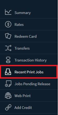 PaperCut's menu
