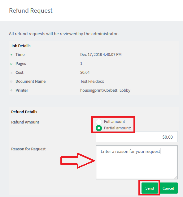 Refund request screen
